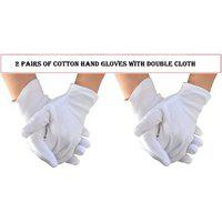 White Men Full Hand Cotton Gloves And Sun Protection With Double Cloth Set Of 2 Pairs Coderb-8345