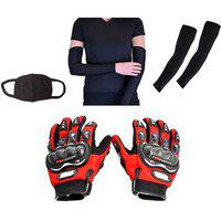 Combo Pack For Pro Biker Gloves Red-xxl plus arm Sleeve Pollution Mask-black
