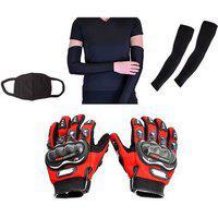 Combo Pack For Pro Biker Gloves Red-l plus arm Sleeve Pollution Mask-black
