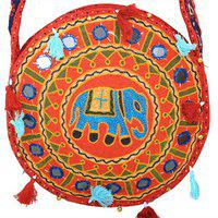 Kuber Industries Ethnic Embroidry Mirror Work Sling Bag In Round Design (red) - Bg9