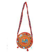 Kuber Industries Ethnic Embroidry Mirror Work Sling Bag In Round Design (red) - Bg10