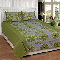 Dreams Home Green Floral Cotton Double Bedsheet With 2 Pillow Cover