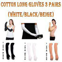 Cotton Stylish Long Full Gloves For Bike Scooty Ridding Arm Anti Tan Pollution Protection Form Sun / Dust For Women ( 3 Pairs Black/white/be