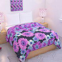 Purple Floral Double Bed Reversible Blanket- By Azaani