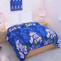 Blue Floral Double Bed Reversible Blanket- By Azaani