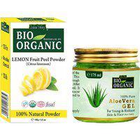Pure Aloe Vera Gel Lemon Fruit Peel Powder Combo Pack Of - 2