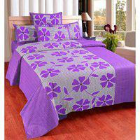 Peponi Cotton Double Bedsheet With 2 Pillow Covers - Purple