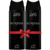 Aris Technique Deodorant Body Spray For Men 200 Ml. (set Of 2 Deodorants)