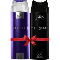 Aris Poison Deodorant Body Spray For Women 200 Ml. plus Aris Technique Deodorant Body Spray For Men 200 Ml. (set Of 2 Deo.)