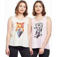 Vimal Jonney Casual Sleeveless Graphic Print Women Multicolor Top