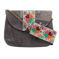 Tarusa Slate Grey Cotton Printed Sling Bag For Women