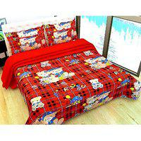 3d Double Bedsheet With 2 Pillow (teddy Tiddu)