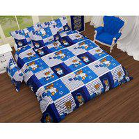 Choco Blue Teddy Anu Double Bedsheet With Two Pillow Cover Pack Of 1