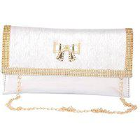 Aliado Faux Leather Embellished Silver Magnetic Snap Closure Crossbody Bag