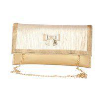 Aliado Faux Leather Embellished Golden Magnetic Snap Closure Crossbody Bag