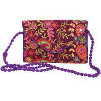 Aliado Cloth/textile/fabric Embroidered Magenta & Multi Crossbody Bag