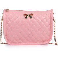 Elprine Bow Decoration Cute Pink Sling Bag For Women