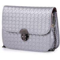 Elprine Silver Elegant Textured Design Sling Bag For Women