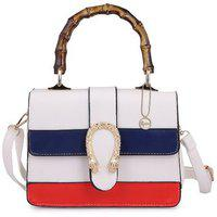 Elprine Hight Quality Pu White Wooden Handle Sling Bag For Women
