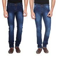 Ansh Fashion Wear Men's Streachable Denim Jeans - Regular Fit - Pack Of 2