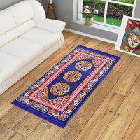 Blue Motif Jute 3 X 5 Feet Machine Made Carpet By Azaani