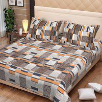 Spangle/cliq 280 Tc Cotton (lining & Checks) Extra Large King Double Bedsheet With 2 Pillow Covers For 8 Thick Mattress