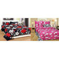 Choco Black Flower And Pink White Flower Combo Double Bedsheet Pack Of 2