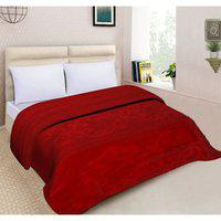 Spangle Floral Embossed Mink Double Blanket Red