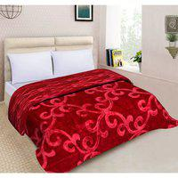 Spangle Floral Embossed Mink Double Blanket Maroon