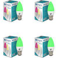 Swara B22 3w Green Candle Led Bulb - Pack Of 4