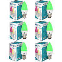 Swara B22 3w Green Candle Led Bulb - Pack Of 6