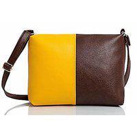 Mammon Women's Brown & Yellow Sling Bag(slg-yt Size-10x8 Inch)