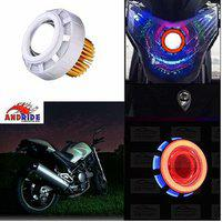 Andride Projector Lamp High Intensity Led Headlight Stylish Dual Ring Cob Led Inside Double Angel's Eye Ring (blue Red) - Universal Fitting