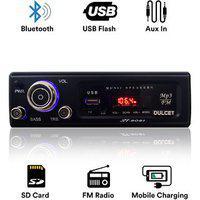 Dulcet Dc-st-8081 Fixed Panel Single Din Mp3 Bluetooth/usb/fm/aux/mmc Car Stereo With Premium 3.5mm Aux Cable