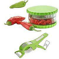 Combo Of 2 In 1 Mirchi Vegetable Cutter With Peelar And Multi Garlic Onion Dry Fruit Crusher