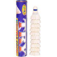 Svr Badminton Shuttle Cocks In White For All Age Groups - Pack Of 10 Standard Size Soft Foam