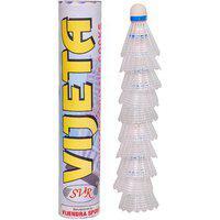 Svr Badminton Shuttle Cocks In White For Kids - Pack Of 10 Standard Size Pvc