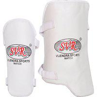 Svr Cricket Elbow And Thigh Guards In White For All Age Groups - Pack Of 2 Full Size Right Hand Batsmen