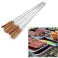 K Kudos 10 Pcs Stainless Steel Barbecue Skewers With Wood Handle Marshmallow Roasting Sticks