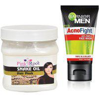 Pink Root Snake Oil Hair Mask 500g With Garnier Acno Fight Facewash