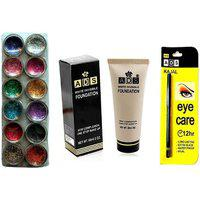 Vozwa 12 In 1 Glitter 1 White Invisible Foundation And 1 Eye Care Kajal