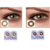 Magjons Brown Hazel Party Color Contact Lens 0 Power With 80ml Solution Case