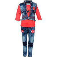 Arshia Fashions Girls Party Wear Top Jeans And Jacket Set - Gr261