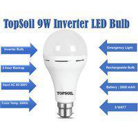 Topsoil Inverter Rechargeable Emergency Led Bulb 9 Watt (power Backup Upto 4 Hours)