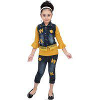 Arshia Fashions Girls Party Wear Top Jeans And Denim Jacket Set