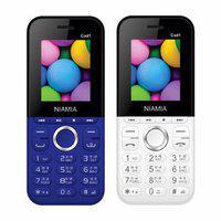 Niamia Cad 1 Basic Keypad Feature Mobile Phone Combo (blue / White)