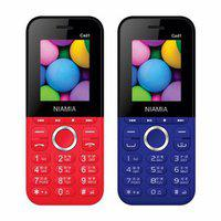 Niamia Cad 1 Basic Keypad Feature Mobile Phone Combo (red / Blue)