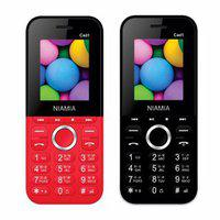 Niamia Cad 1 Basic Keypad Feature Mobile Phone Combo (red / Black)