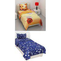 Shakrin 2 Single Bedsheets With 2 Pillow Covers 60 X 90 Inch (pack Of 2)