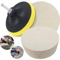 Diy Crafts 4 Felt Wool Cleaning Polishing Sponge With 3 Backing Pad M10 Off White Felt Pad (pack Of 3 Pcs)